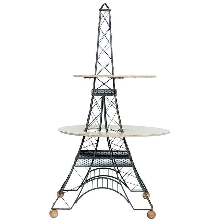 Mid Century Two-Tier Eiffel Tower Brass Sculptural Table