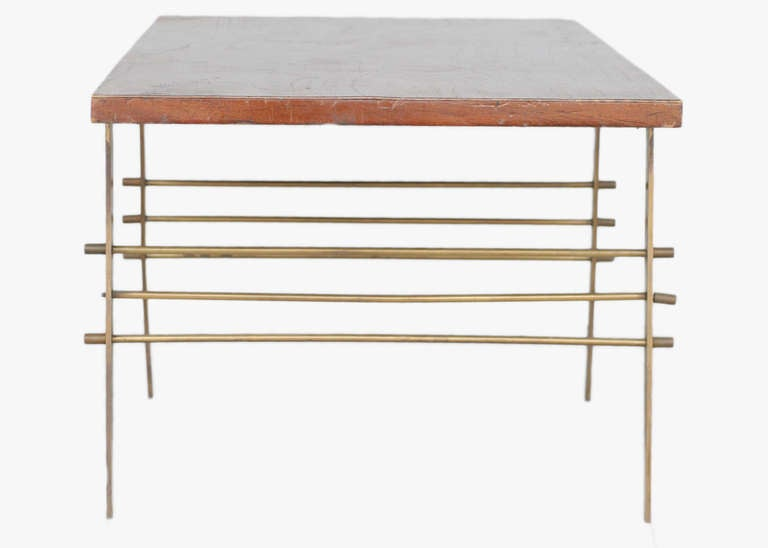 Mid-Century Modern Mid-Century Oak Coffee Table with Brass Architectural Base **Saturday Sale** For Sale