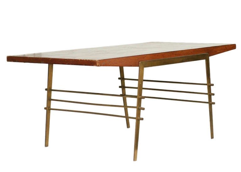 American Mid-Century Oak Coffee Table with Brass Architectural Base **Saturday Sale** For Sale