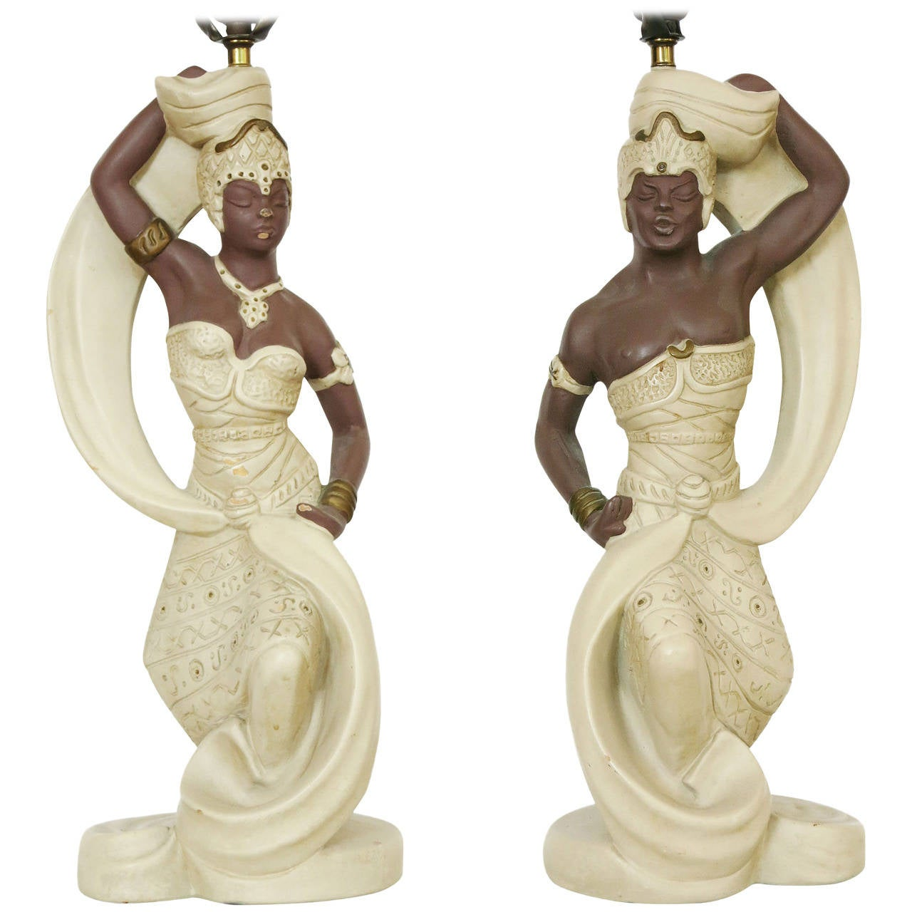 Lovely Pair Of Carl Romanelli Chalkware Polynesian Prince And Princess Lamps For  Sale