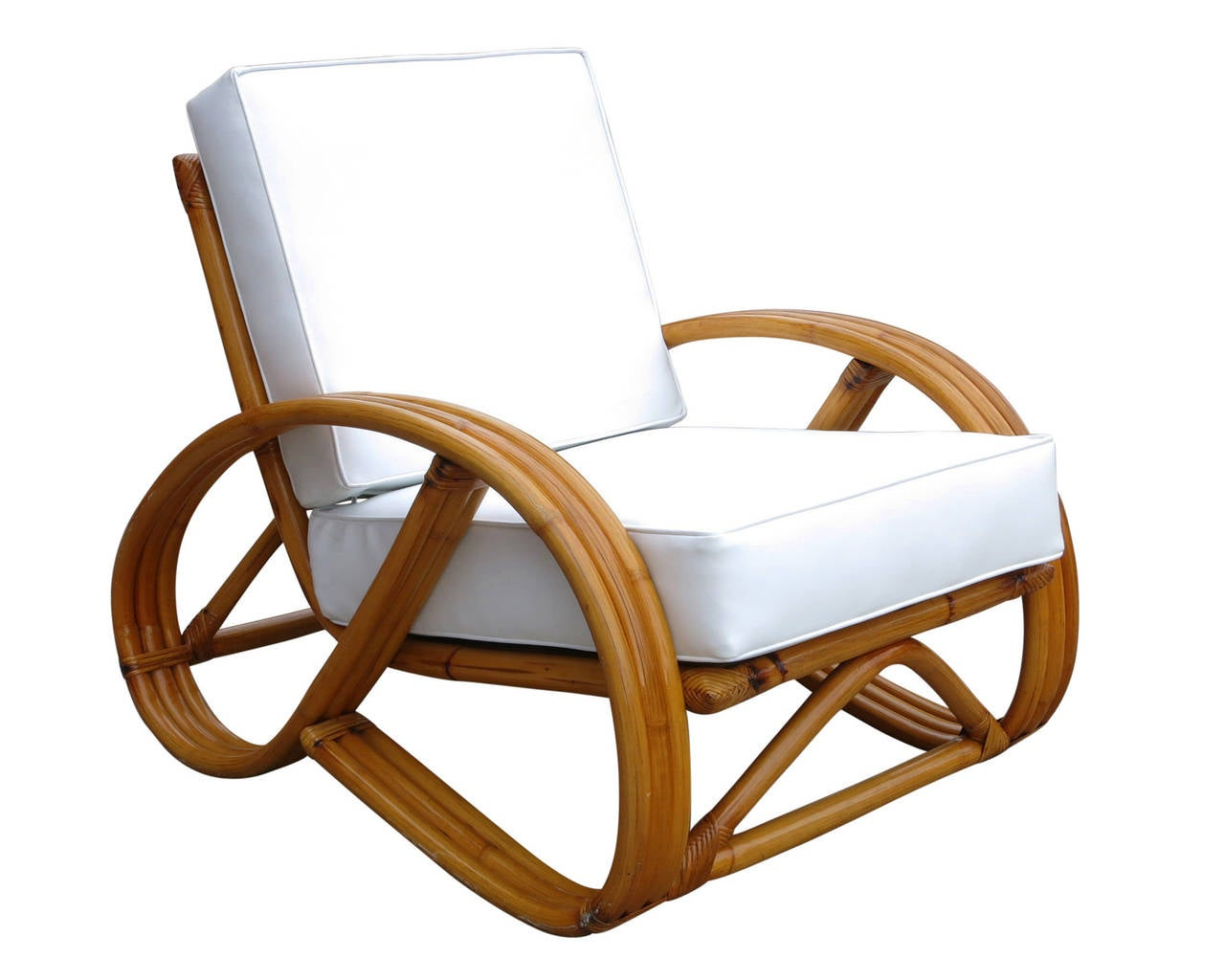 3 4 round pretzel rattan lounge chair with ottoman at 1stdibs. Black Bedroom Furniture Sets. Home Design Ideas