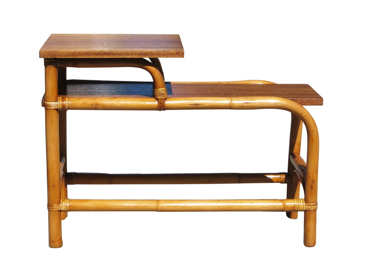 Restored steam bent two tier rattan side table with for Bent bamboo furniture