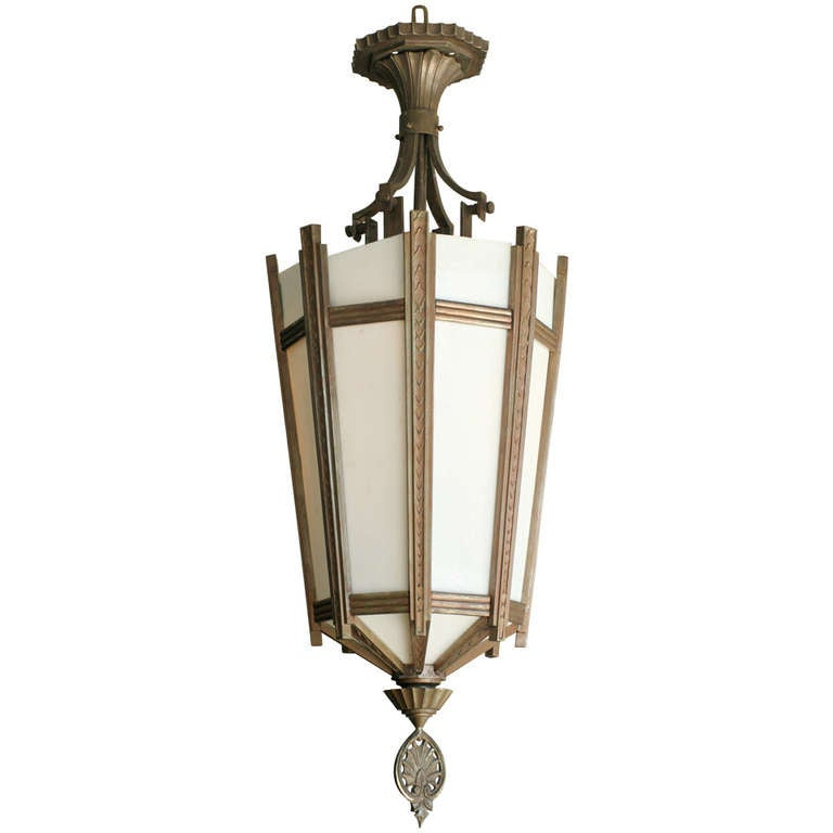 "Art Deco Bronze and Glass ""Federal"" Chandelier  ** Saturday Sale** 1"