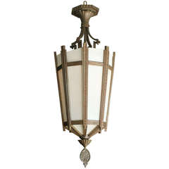 """Art Deco Bronze and Glass """"Federal"""" Chandelier"""