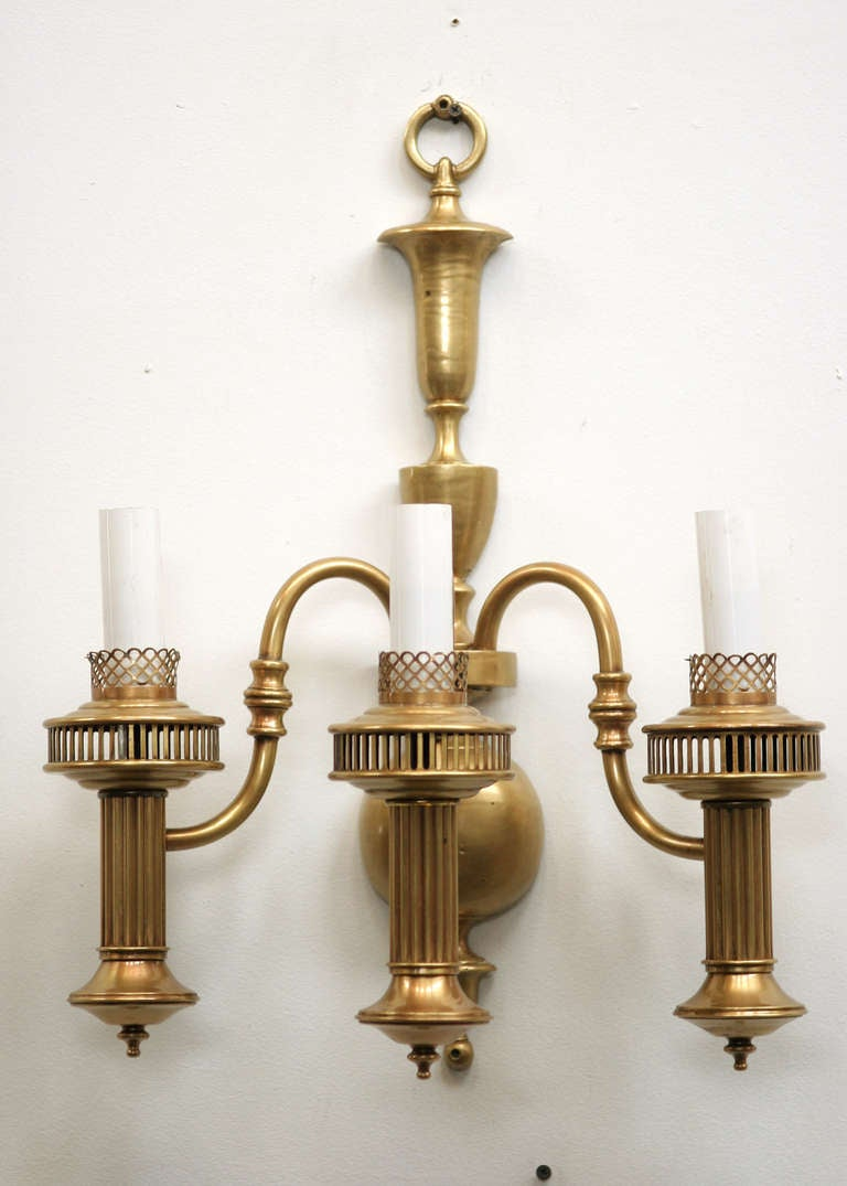 American Colonial Brass Oil Lamp Wall Sconce at 1stdibs