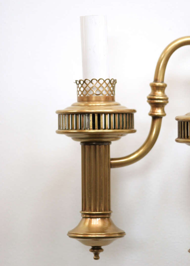Colonial Electric Wall Sconces : American Colonial Brass Oil Lamp Wall Sconce at 1stdibs