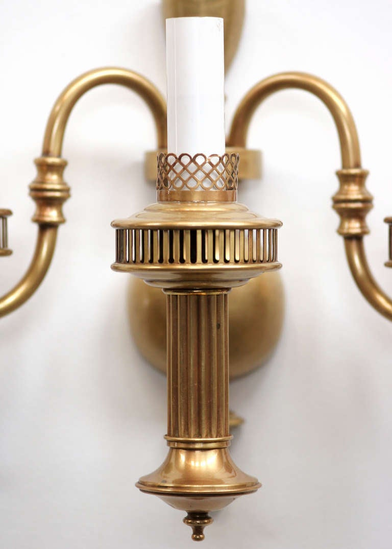 Colonial Brass Wall Sconces : American Colonial Brass Oil Lamp Wall Sconce at 1stdibs