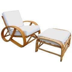 3/4 Round Pretzel Rattan Lounge Chair with Ottoman