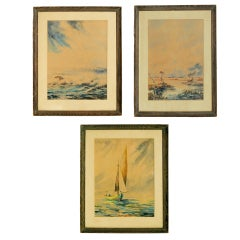 Set of Three Victorian Water Colors