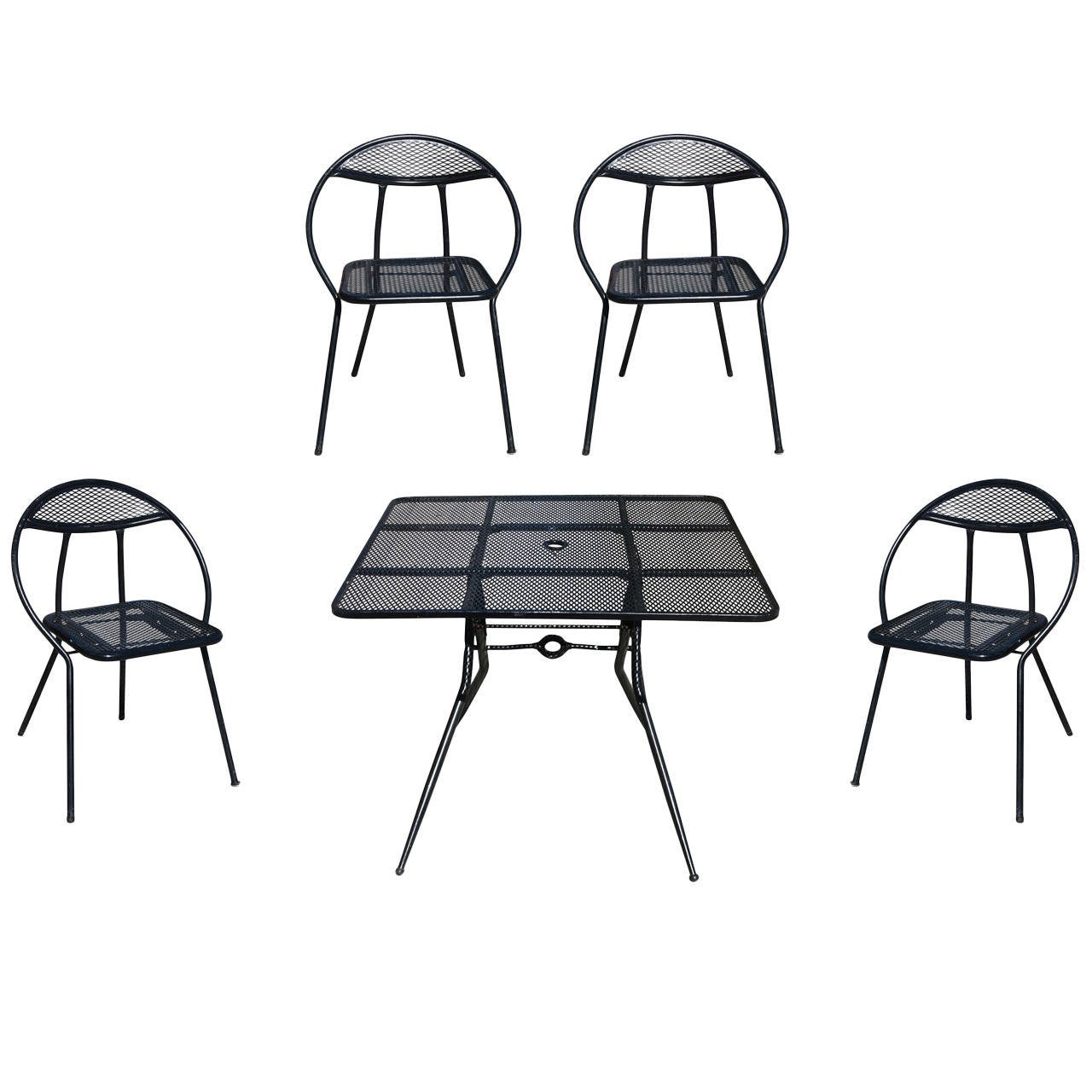 Salterini Mid Century Modern Steel Outdoor or Patio Dining Set with Four Chai