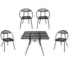 Salterini Mid-Century Modern Steel Outdoor or Patio Dining Set with Four Chairs