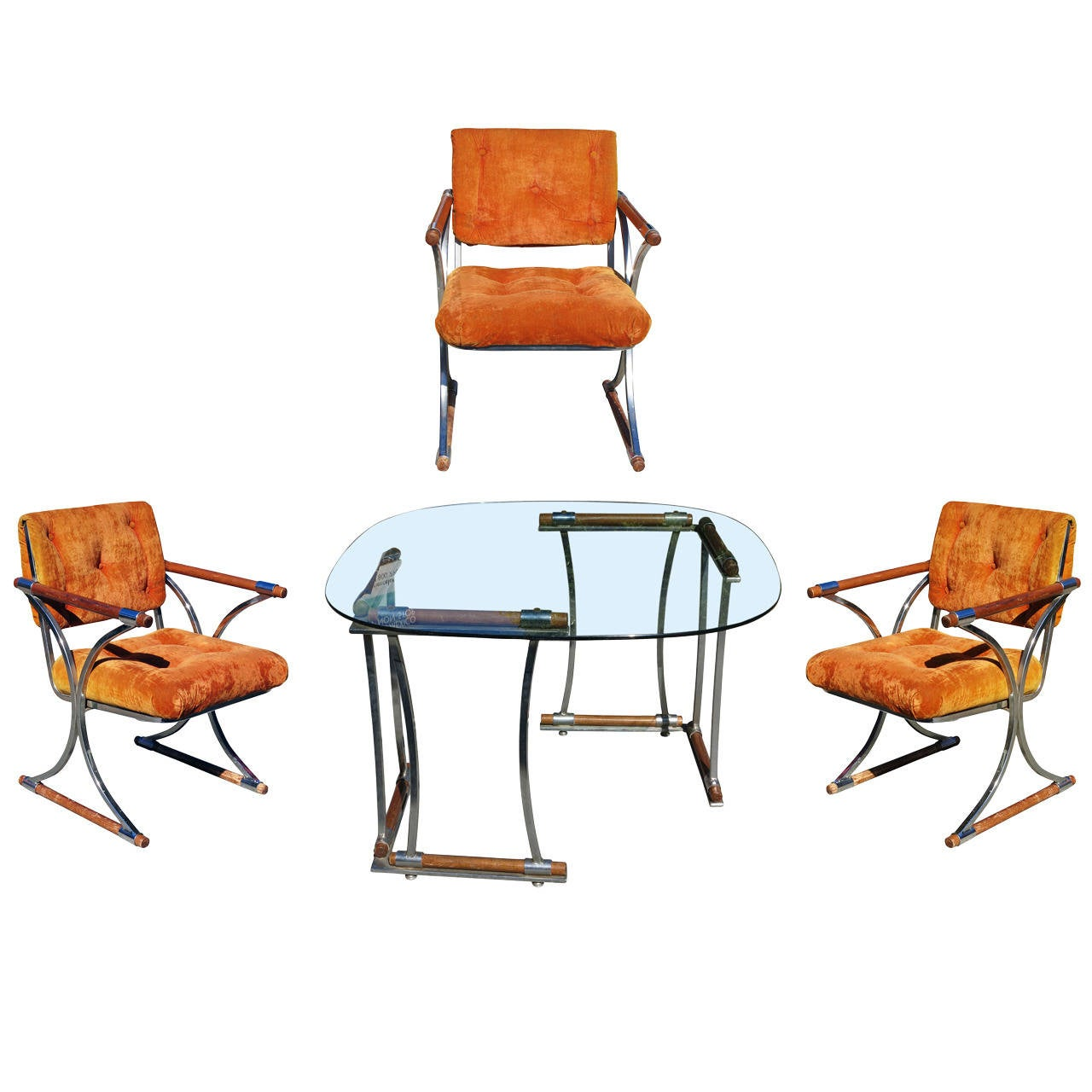 Set of Three Chrome Dining Chairs and Dining Table Set by  : 2235602l from 1stdibs.com size 1280 x 1280 jpeg 125kB