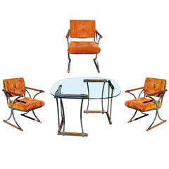 Chrome Dining Chair & Dining Table Set by Cleo Baldon