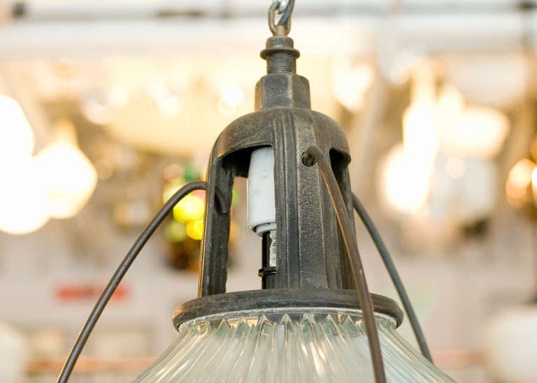 Holophane Industrial Hanging Light Fixture In Excellent Condition For Sale In Van Nuys, CA