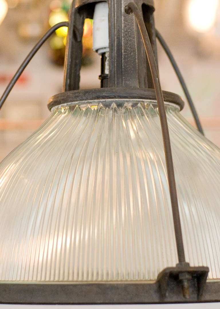 Mid-20th Century Holophane Industrial Hanging Light Fixture For Sale
