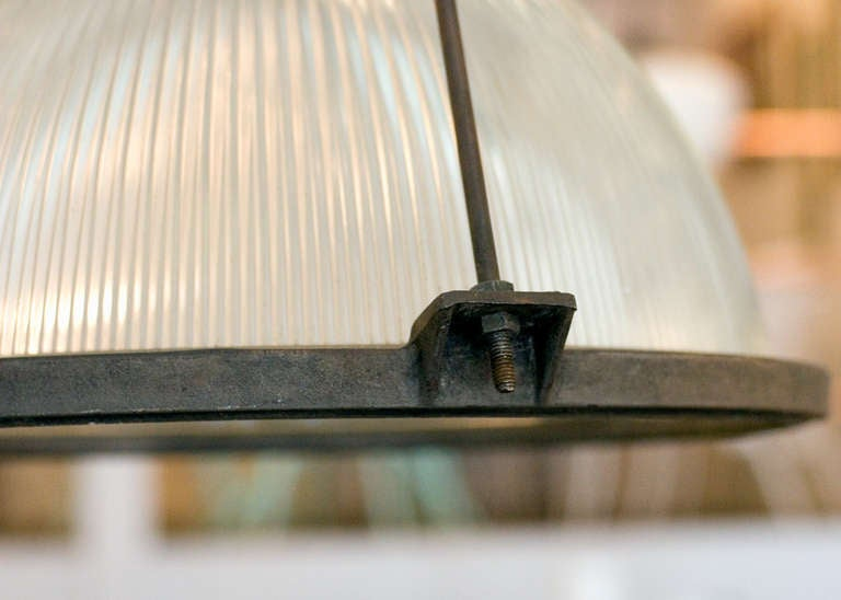 Glass Holophane Industrial Hanging Light Fixture For Sale