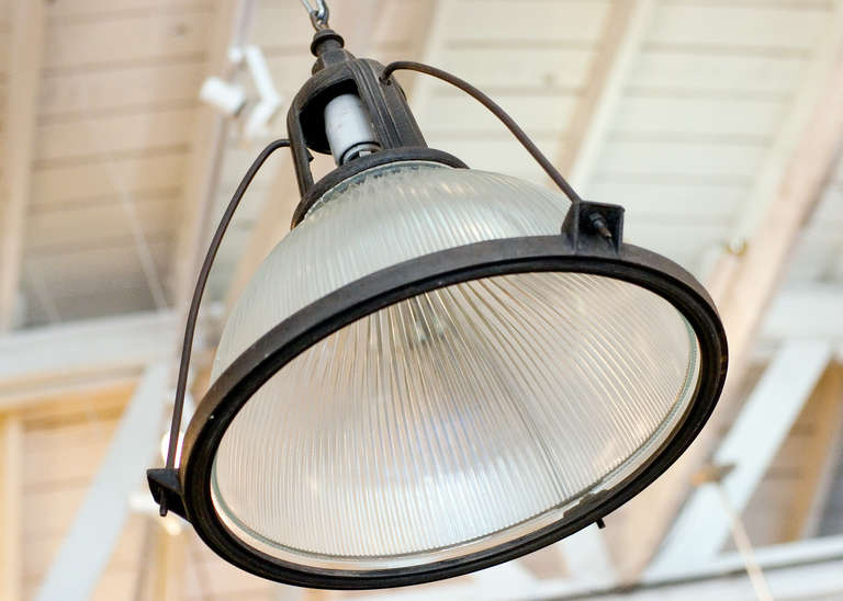 American Holophane Industrial Hanging Light Fixture For Sale