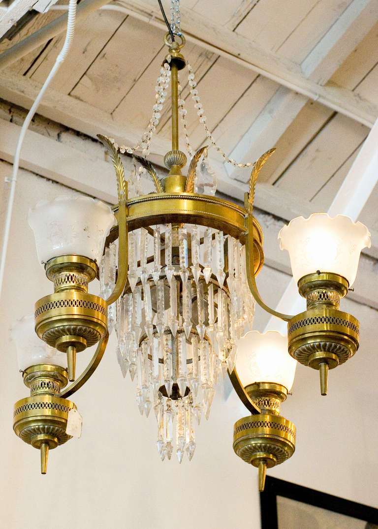Large Converted Oil Lamp Crystal Chandelier For Sale at 1stdibs