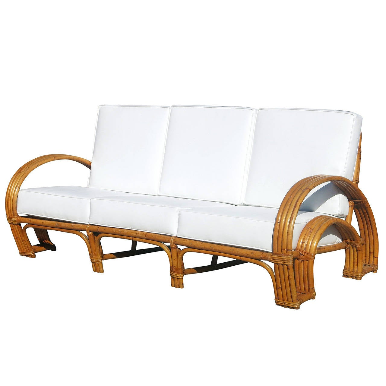 Paul Frankl Sofa ~ Paul frankl style four strand quot horse shoe rattan sofa for