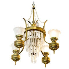 Large Converted Oil Lamp Crystal Chandelier