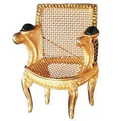 "1985 Karl Lagerfeld Gilt & Crystal  Louis XIV ""Chair"" Brooch **Saturday Sale**"