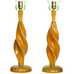 Pair of Carved Spiral Mid-Century Lamps