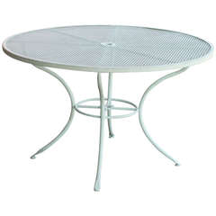 1950s Woodard Four-Person Outdoor Mesh Picnic Table with Umbrella Holder