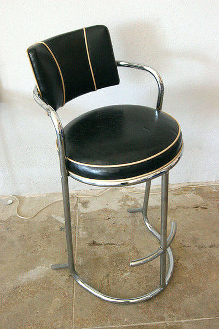 Set Of 3 Art Deco Chrome Pipe Bar Stools At 1stdibs