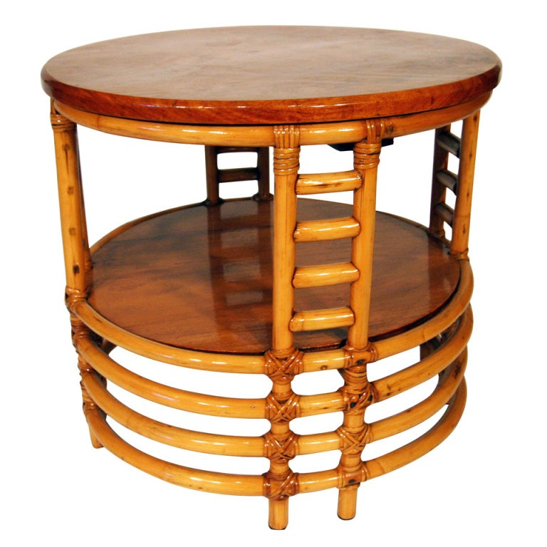 Two Tier Round Rattan Coffee Table With Mahogany Top At 1stdibs