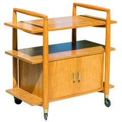 Three-Tier Mid-Century Bar Cart with Storage Cabinet