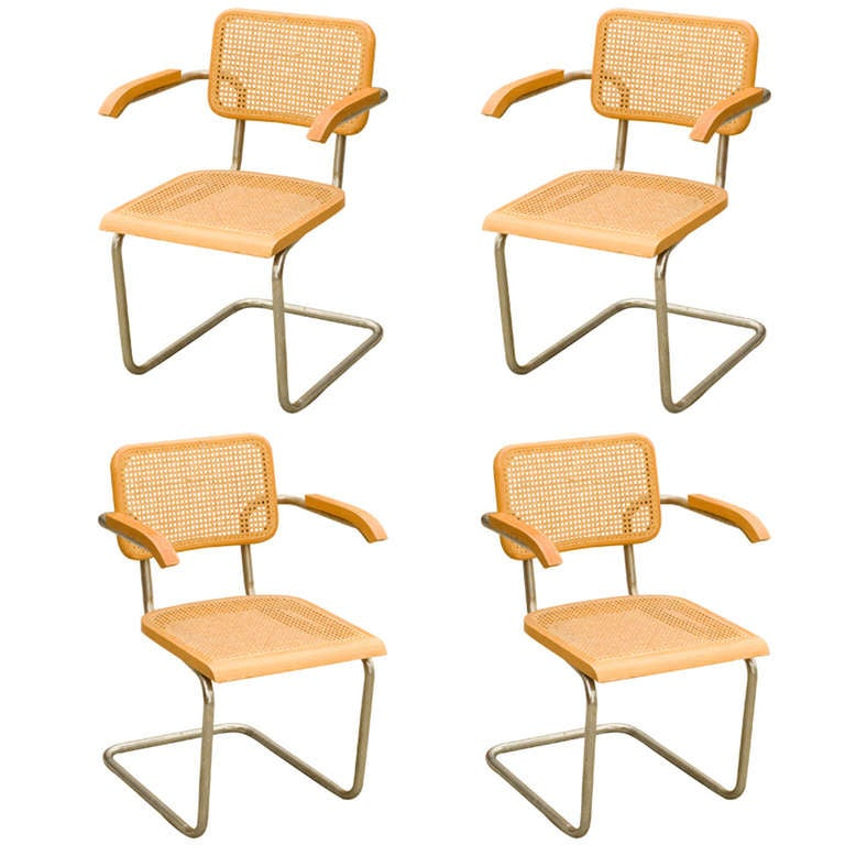 "Marcel Breuer Wicker Back Chrome ""Cesca"" Chairs by Stendig for Knoll"