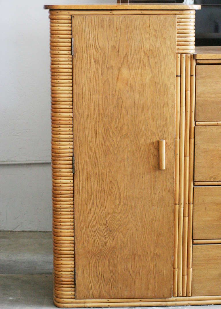 Restored Museum Quality Stacked Rattan Armoire Circa 1930
