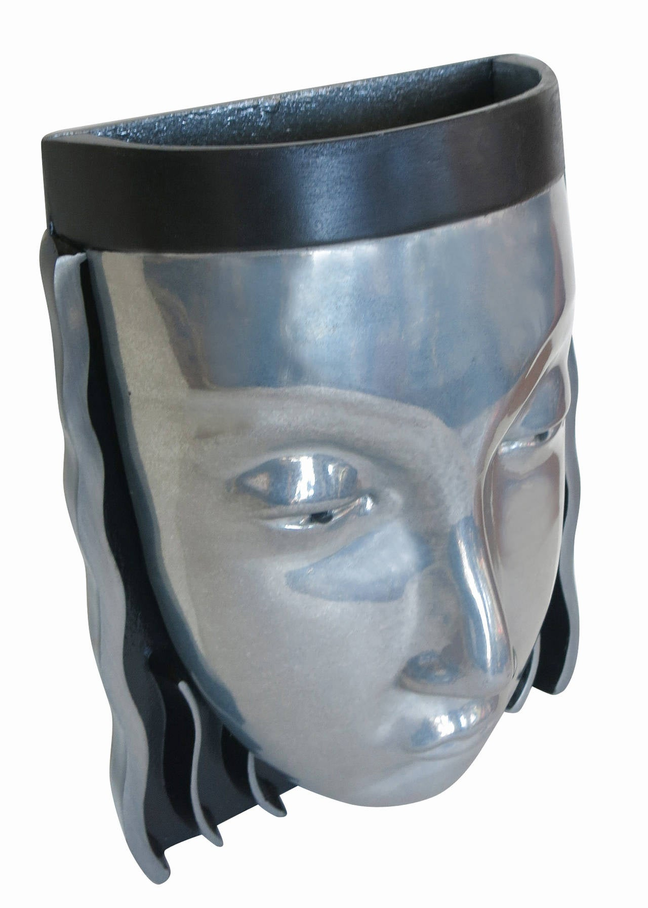 Art Deco Style Female Face Mask Wall Sconce Sat Sale For Sale