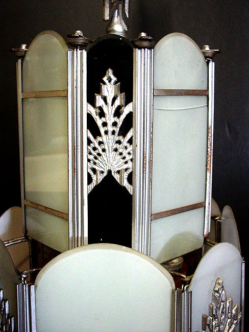 American Intricate Art Deco Stained Glass Chandelier For Sale
