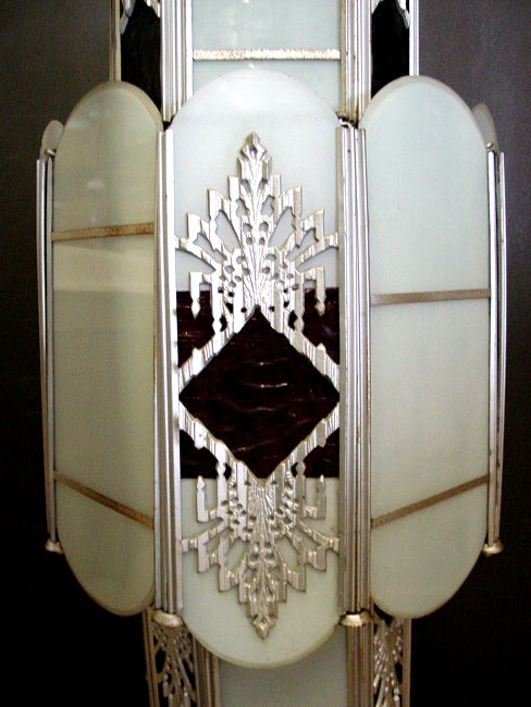 Intricate Art Deco Stained Glass Chandelier In Excellent Condition For Sale In Van Nuys, CA