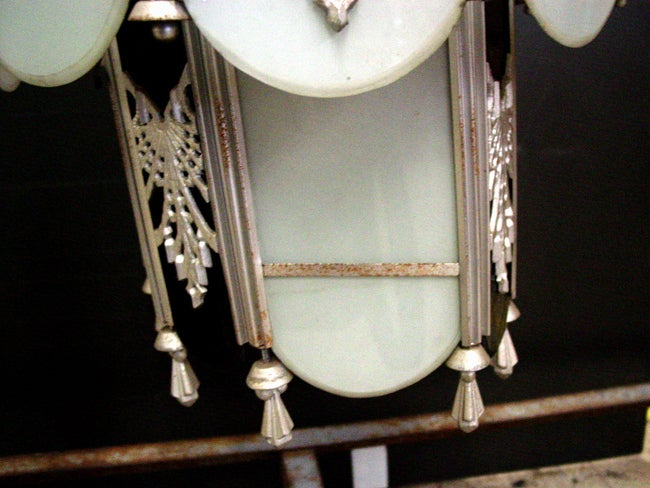 20th Century Intricate Art Deco Stained Glass Chandelier For Sale