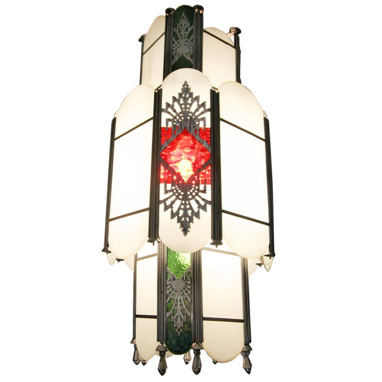 Intricate Art Deco Stained Glass Chandelier For Sale