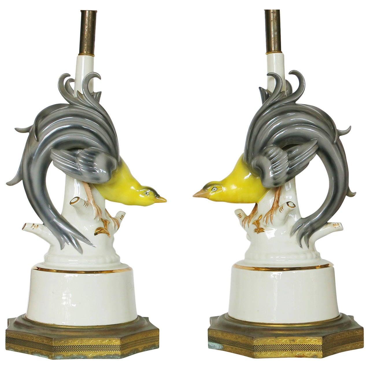 Mid-Century Ceramic Greater Bird-of-Paradise Table Lamps, Pair ...