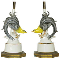 Mid-Century Ceramic Greater Bird of Paradise Table Lamps, Pair