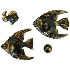 Ceramic Aquatic Angelfish Wall Art Set