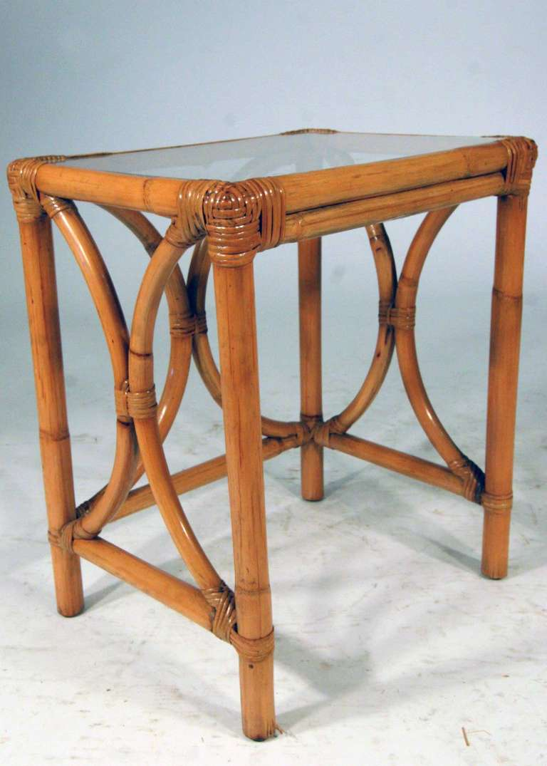 Rattan Nesting Tables ~ Set of rattan nesting side tables at stdibs