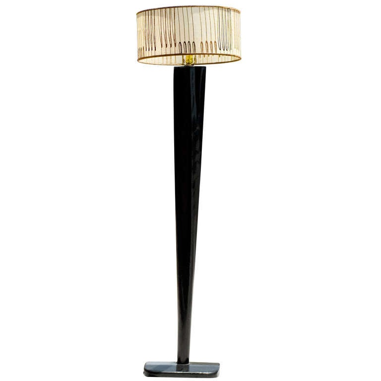 heywood wakefield floor lamp w drum shade. Black Bedroom Furniture Sets. Home Design Ideas