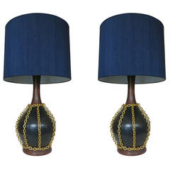 Large Mid-Century Pottery Gold Tone Chain Lamps with Shade