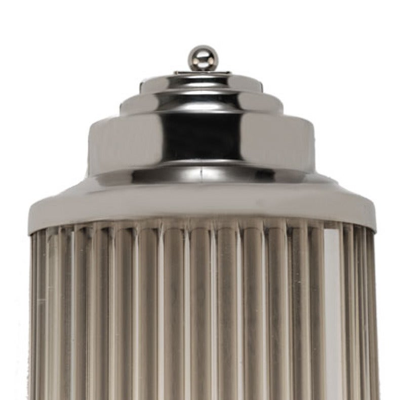 An Art Deco style grand theater glass rod wall sconce featuring a polished nickel finish with glass rod inserts.  Dual e26 Ceramic Socket Can handle 2 60w Bulbs but always recommend LED Two Wire (L, N) & Ground  Large quantities available, contact