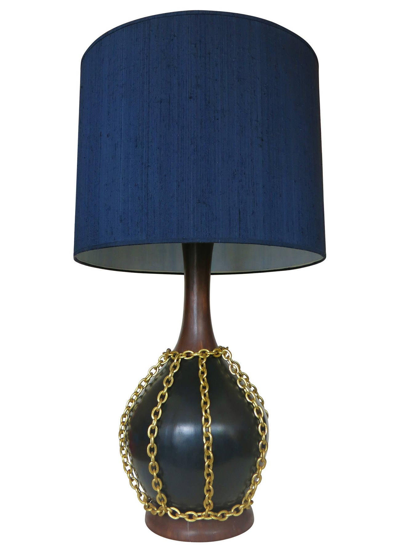 large mid century pottery gold tone chain lamps with shade. Black Bedroom Furniture Sets. Home Design Ideas