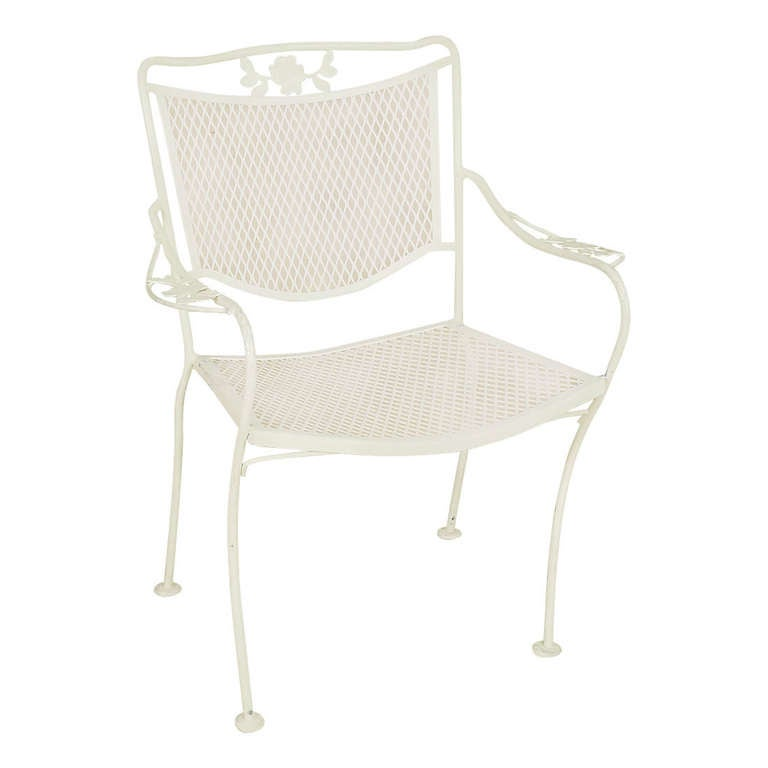 Woodard outdoor patio mesh armchairs with scrolling floral for Mesh patio chairs