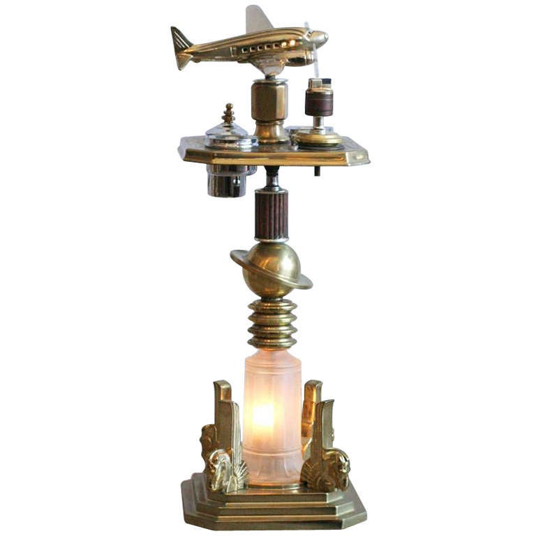 Brass Art Deco Ashtray Stand With Light Up Plane At 1stdibs