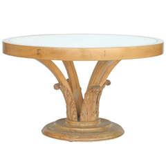 Art Deco Carved Palm Leaf Coffee Table, circa 1940
