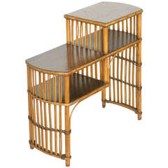 Early 3 Tier Stick Rattan Side Table with Mahogany Table Top
