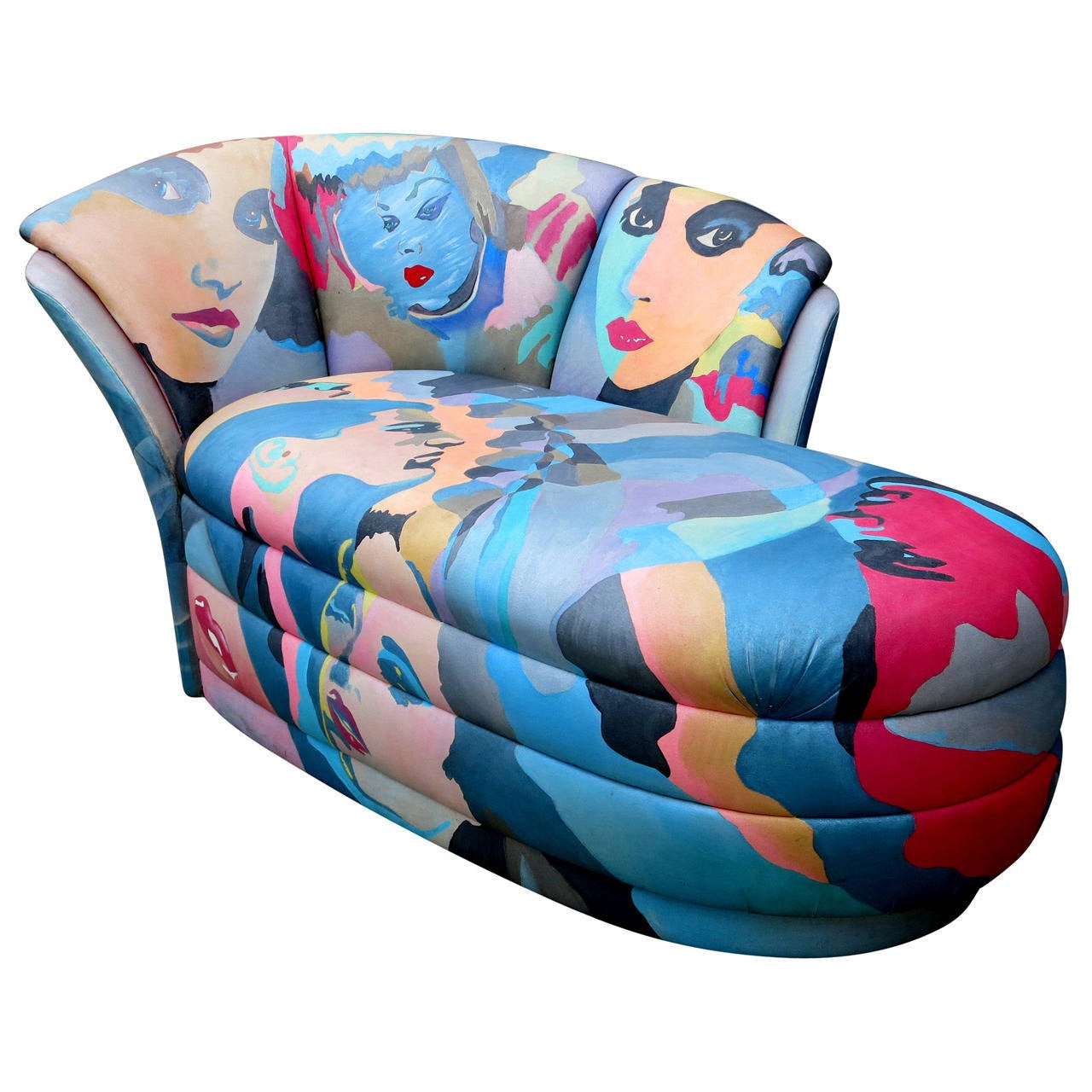 Pop Art Hand-Painted Chaise Lounge by Robert Fischer